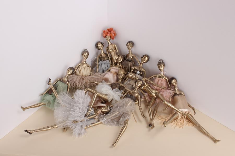 Daniela Aguilar, Del Monton, 2017. Bronze, brass, suede, silk, tulle, pearls, enamel, beads, sequins, magnets stainless steel springs, and stainless steel wire, 33 x 32 x 28 cm (each doll). Courtesy the artist.