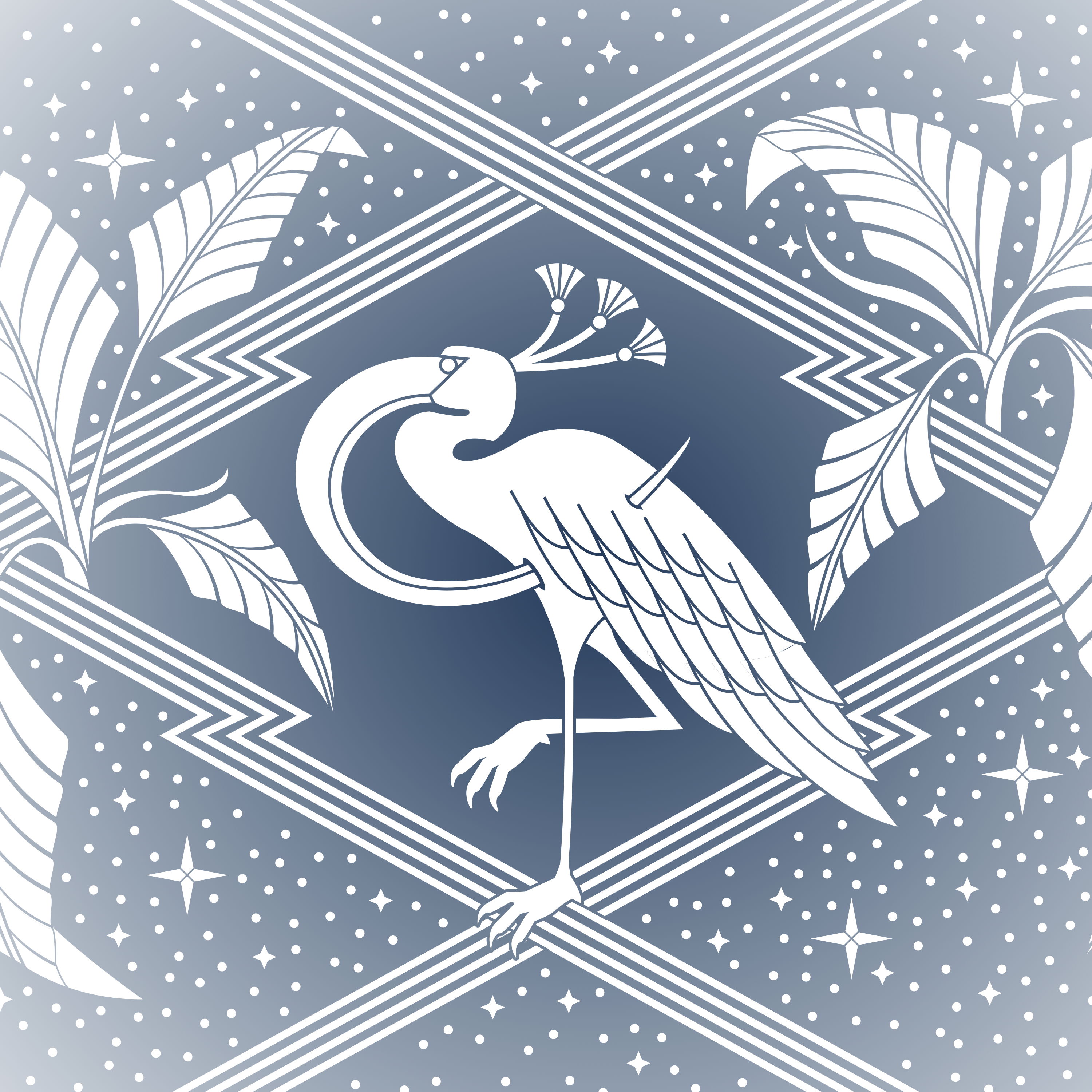 A design in blue and white. The design features a large bird with an arch shaped beak standing on one leg. Around the bird are some stars and dots, thick straight lines, and plants.