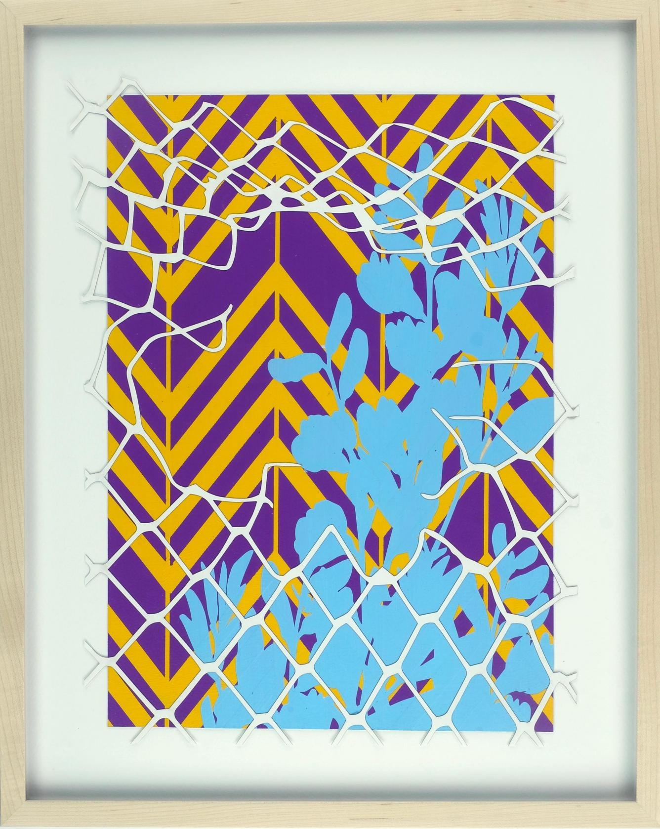 Fronterra No. 2. A psychedelic artwork depicting skyblue flowers against a yellow and purple zig zag background. A depiction of a white chainlink fence is torn open, almost as if we are looking through the fence.