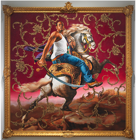 Black male dressed in a white tank top and blue jeans, sneakers, atop a white horse with a cheetah print saddle. Set against a red back drop that has gilded graphics around the male