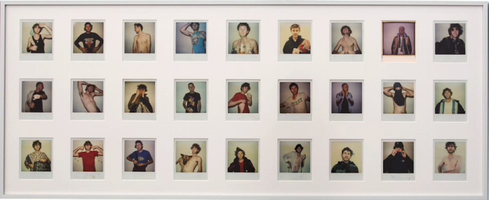 27 polaroids of young men posing dynamically against a blank wall. Some are bearded, have scraggly hair, while others are clean shaven with buzzed hair. Some are shirtless and others are clothed.