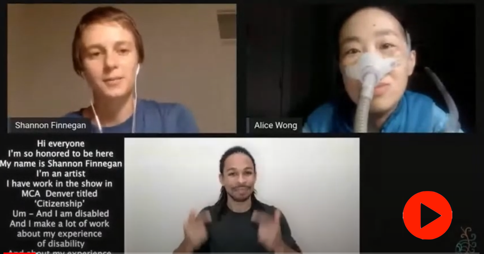 A screen grab of a video recording of three individuals having an online conversation. One of them, Shannon, is in the upper left of the screen. The room they are in is beige and they have short hair, a blue top on, and wearing headphones. Alice is on the top right of the screen, in a dark, almost black room and wearing a blue top with a mask over her nose attached to a gray tube. Brandon, on the bottom center of the screen, is in front of a white background and they are providing ASL interpretation. The closed captioning is on the left side of the screen, under Shannon's video.