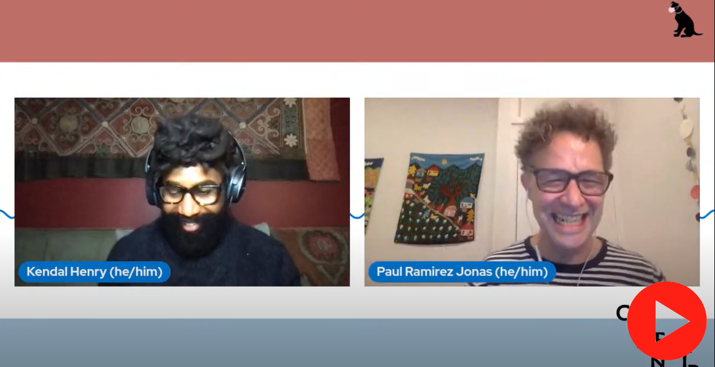 [Image description: Artists Kendal Henry and Paul Ramirez Jonas on a side by side screen as they are in conversation. They are against a red, white, and blue striped background. A red play button is in the bottom right corner.]