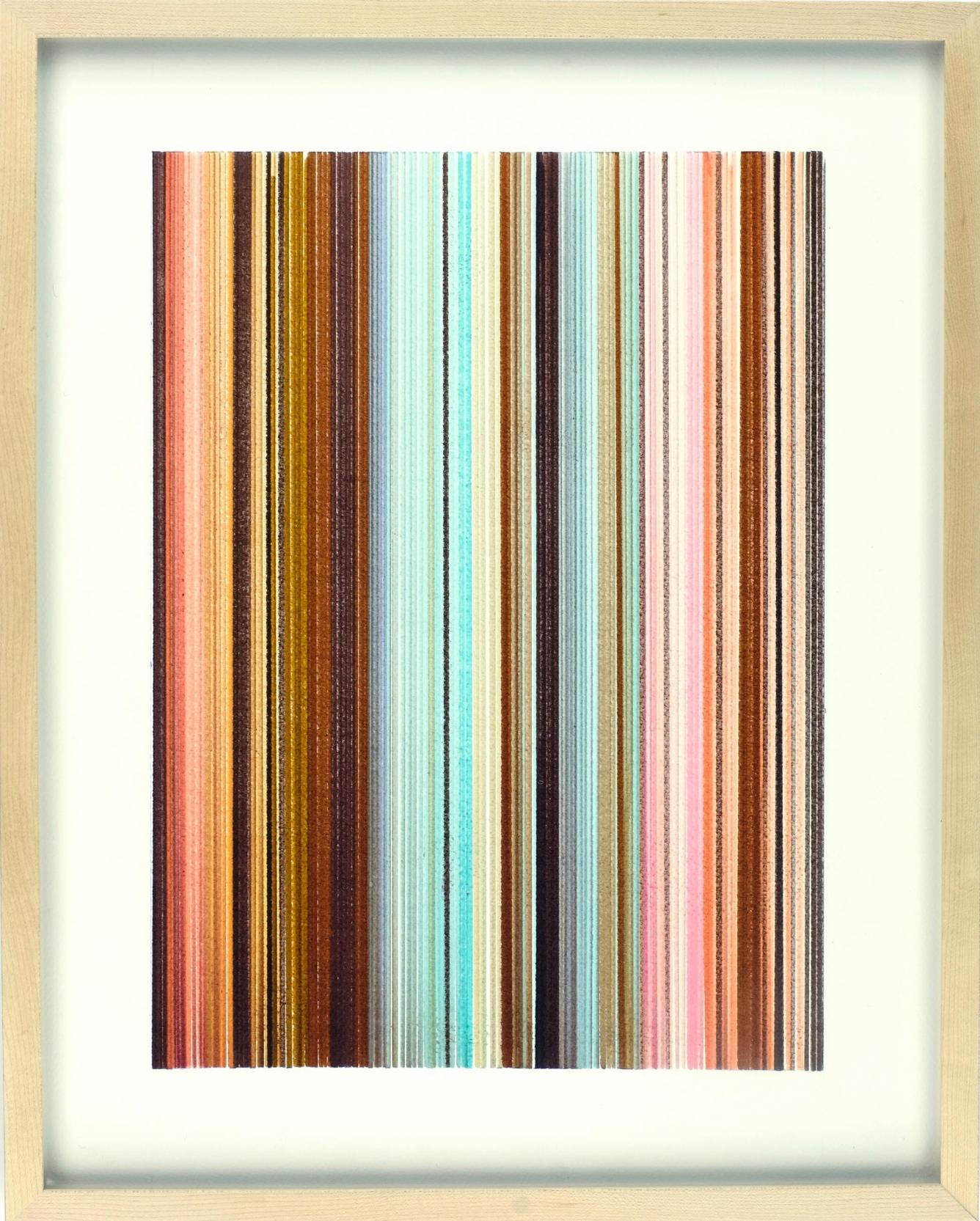 An abstract painting depicting many vertical lines in earth tones. It is almost representative of the layers of the Earth's crust.