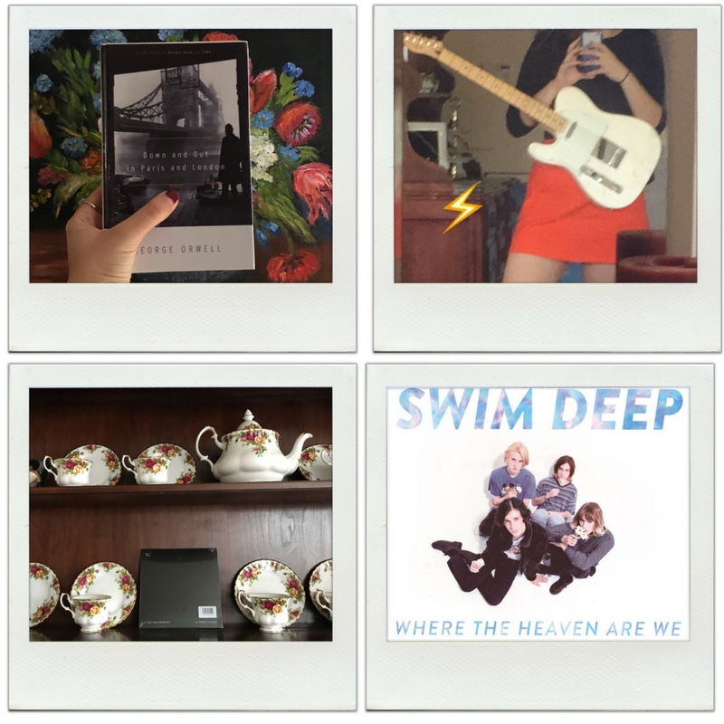 Four poloroids. One is a book. A person takes a selfie while holding a white electric guitar. China tea set on wooden shelves. An image of four men looking up at the camera. Swim Deep, Where the Heaven Are We, reads the text.