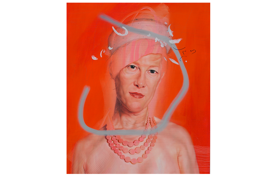 Jenny Morgan. Mother's Pearls, 2009. Oil, spray paint, and pencil on canvas.