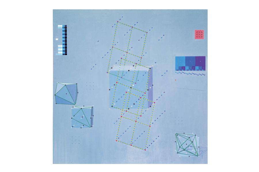 Clark Richert, H-Xe Periods, 2001. Acrylic on canvas, 70 x 70 inches. Courtesy the artist and Gildar Gallery.