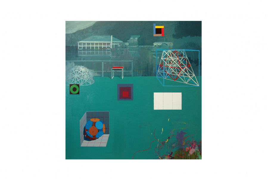 Clark Richert, Black Mountain College, 2009. Acrylic on canvas, 70 x 70 inches. Courtesy the artist and Rule Gallery.