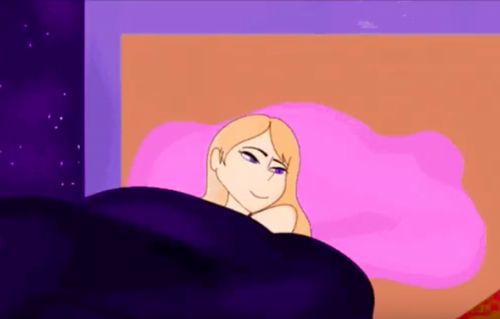 Animated figure laying on a pink pillow, smiling softly