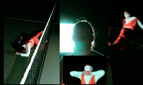 A photo collage of a person in red and white at a tennis course during the night. They are in different dynamic poses.