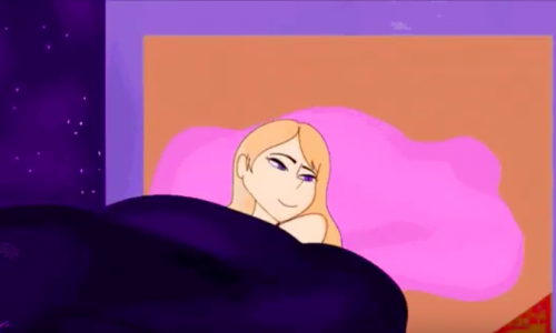 An illustration of a blonde woman in a bed with a big pink pillow. The background is full of stars.