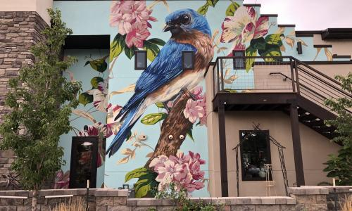 Colorful wall art with blue bird perched on wall surrounded by pink flowers
