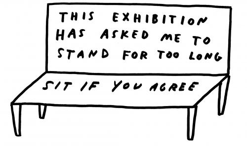 "Line drawing of a bench. Text on the bench reads, ""This exhibition has asked me to stand for too long. Sit if you agree."""