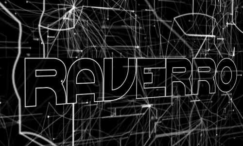 Digital art work with black background with a series of white lines connecting and dispersing, looking almost like a map, with the word RAVERRO in the foreground in a white outline and filled with black