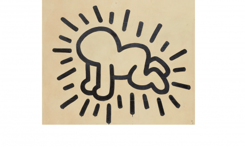 Image of a Keith Haring mural of a figure drawn with a black outline. The figure looks like a baby crawling on all fours, with radiant lines drawn around it.