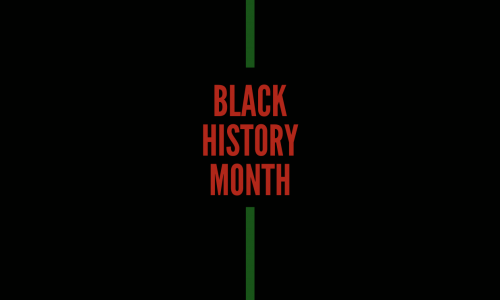 black background with green stripes in the middle. Middle text reads Black History Month in red