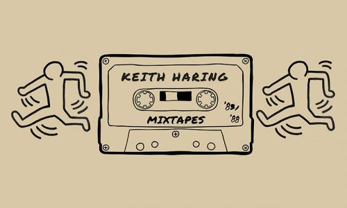 Black graphic drawing of a mixtape cassette with the artist, Keith Haring's, famous dancing figures to the left and right of the cassette tape.