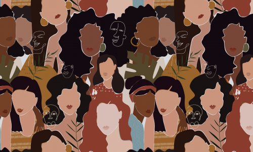 graphic design of women of all ethnicities. Women's History Month is written in white in the bottom right corner