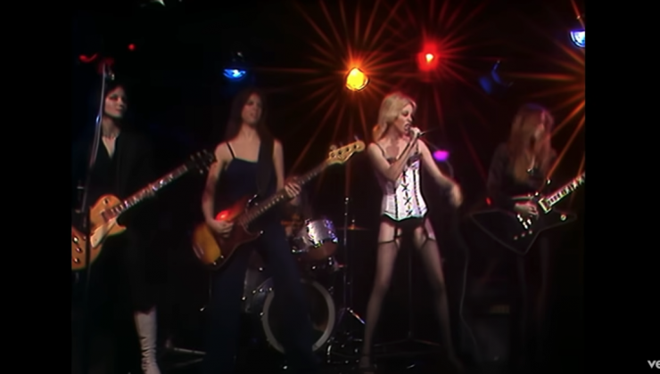 screenshot of the group The Runaways on stage